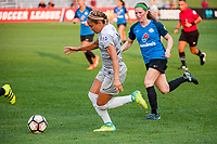 Kansas City, MO - Thursday August 10, 2017: Jaelene Hinkle, Maegan Kelly during a regular season National Women's Soccer League (NWSL) match between FC Kansas City and the North Carolina Courage at Children's Mercy Victory Field.