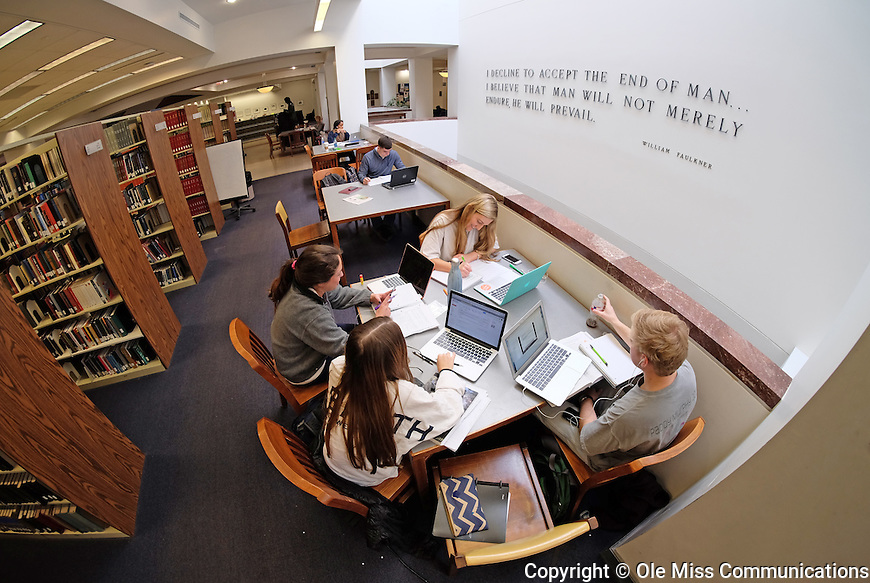 Day or night, the J.D. Williams Library is the place to study with friends. Photo by Robert Jordan/Ole Miss Communications