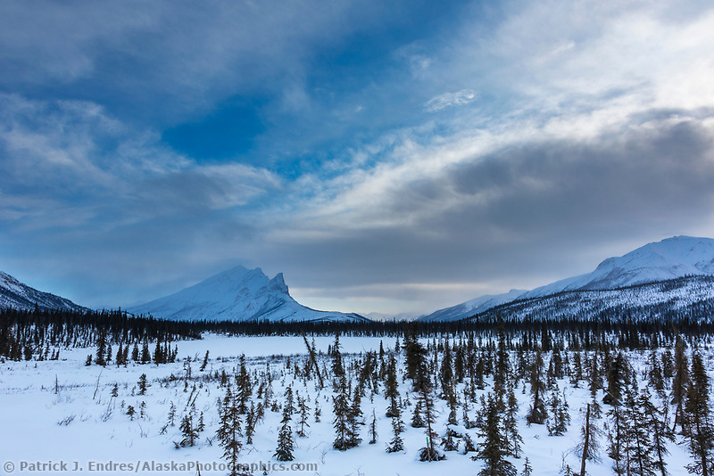 Winter landscape of mount Sukakpak of the Brooks Range mountains, Alaska.