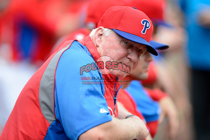 Philadelphia Phillies manager Charlie Manuel #41 before a Spring Training game against the New York Yankees at Bright House Field on February 26, 2013 in Clearwater, Florida.  Philadelphia defeated New York 4-3.  (Mike Janes/Four Seam Images)