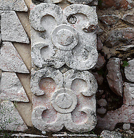 "Eastern Façade of the Codz Poop (""Rolled-up matting"" in Maya), Detail of ornamentation, Puuc Architecture, 700 ? 900 AD, Kabah, Yucatan, Mexico. Picture by Manuel Cohen"
