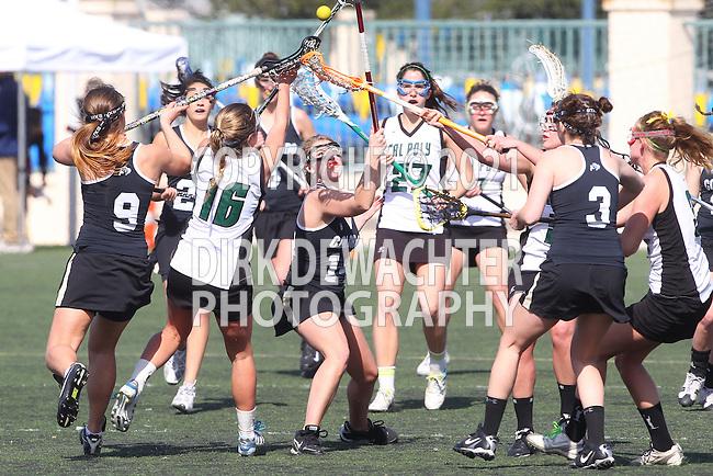 Santa Barbara, CA 02/18/12 - Sarah Shea (Colorado #9), Taylor Haverty (Colorado #3), Sarah Lautman (Colorado #13), Emily DeSimone  (Cal Poly SLO #16), Meggan Weinell  (Cal Poly SLO #27) in action during the 2012 Santa Barbara Shootout.  Colorado defeated Cal Poly SLO 8-7.