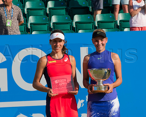 June 18th 2017, Nottingham, England; WTA Aegon Nottingham Open Tennis Tournament day 7 finals day;  Johanna Konta of Great Britain and Donna Vekic of Croatia with their trophies
