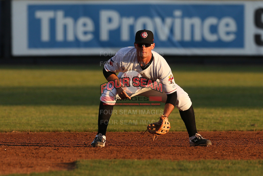 Carl Wise (6) of the Vancouver Canadians in the field at third base during a game against the Tri-City Dust Devils at Nat Bailey Stadium on July 23, 2015 in Vancouver, British Columbia. Tri-City defeated Vancouver, 6-4. (Larry Goren/Four Seam Images)