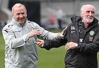 Former Celtic players Tommy Craig and Danny McGrain indulge in some pre match banter in the St Mirren v Celtic Clydesdale Bank Scottish Premier League match played at St Mirren Park, Paisley on 20.10.12.