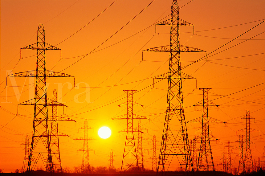 Canada, Ontario, Niagara Falls. Hydro towers at sunrise