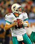 7 December 2008: Miami Dolphins' quarterback Chad Pennington looks for an open receiver in the second quarter against the Buffalo Bills during the first regular season NFL game ever to be played in Canada. The Dolphins defeated the Bills 16-3 at the Rogers Centre in Toronto, Ontario. ..Mandatory Photo Credit: Ed Wolfstein Photo