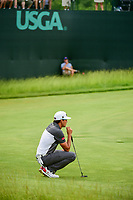Rafael Cabrera Bello (ESP) lines up his putt on 6 during Saturday's round 3 of the 117th U.S. Open, at Erin Hills, Erin, Wisconsin. 6/17/2017.<br /> Picture: Golffile | Ken Murray<br /> <br /> <br /> All photo usage must carry mandatory copyright credit (&copy; Golffile | Ken Murray)
