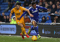 Kadeem Harris of Cardiff City is tackled by Ben Pearson of Preston North End during the Sky Bet Championship match between Cardiff City and Preston North End at Cardiff City Stadium, Wales, UK. Tuesday 31 January 2017