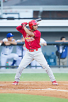 Chris Rivera (11) of the Johnson City Cardinals at bat against the Burlington Royals at Burlington Athletic Park on July 14, 2014 in Burlington, North Carolina.  The Cardinals defeated the Royals 9-4.  (Brian Westerholt/Four Seam Images)
