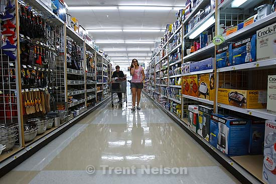 """Salt Lake City - Marion Cummings shops for groceries at the Avenues Smith's location with her granddaughter Chelsa Best Wednesday, July 16. Cummings says the rising cost of food has forced her to raise prices in her chocolate stores to keep up with costs. """"Anything that comes in by truck has gone up ten percent,"""" she said..; 7.16.2008"""
