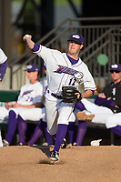Winston-Salem Dash starting pitcher Aron McRee (12) warms up in the bullpen prior to the game against the Buies Creek Astros at BB&T Ballpark on April 15, 2017 in Winston-Salem, North Carolina.  The Astros defeated the Dash 13-6.  (Brian Westerholt/Four Seam Images)