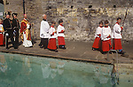 Catholic procession to the open air church service. Holywell St Winefrides Shrine.  Holywell Flintshire Wales. 1990s.<br />