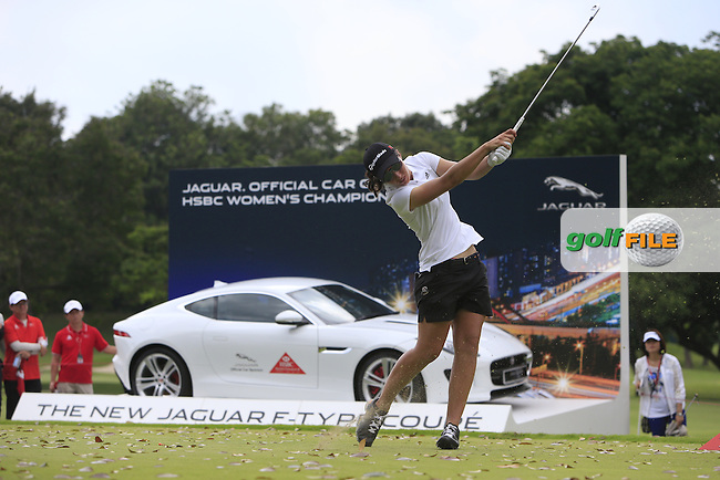 Carlota Ciganda (ESP) on the 17th tee during Round 3 of the HSBC Women's Champions at the Sentosa Golf Club, The Serapong Course in Singapore on Saturday 7th March 2015.<br /> Picture:  Thos Caffrey / www.golffile.ie