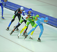 SCHAATSEN: HEERENVEEN: 25-10-2014, IJsstadion Thialf, Marathonschaatsen, KPN Marathon Cup 2, Bart de Vries (#91), Erik Jan Kooiman (#37), Sam Boon (#12), Crispijn Ariens (#88), Bob de Vries (#1), ©foto Martin de Jong