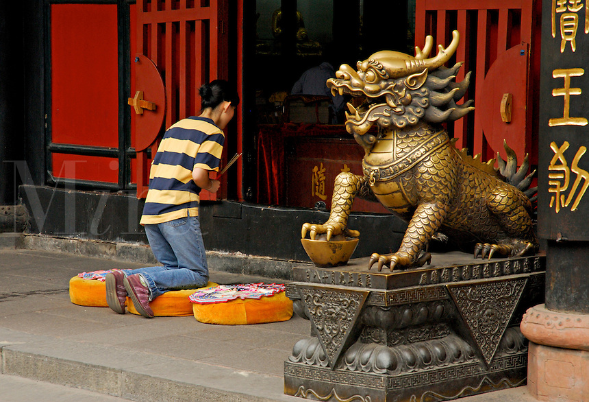 Chinese Buddhist prays at a shrine at Wenshu Temple,guarded by a mythical protector beast, Chengdu, China.
