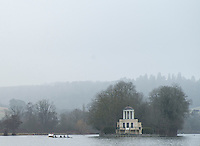 Henley. United Kingdom.  General View Temple Island, Henley Fours &amp; Eights Henley Head,  Henley Reach, River Thames. H-O-T, England.<br /> <br /> Saturday  18/02/2017<br /> <br /> [Mandatory Credit. Peter SPURRIER/Intersport Images]