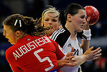 BELGRADE, SERBIA - DECEMBER 15:  Anna Punko of Russia (R)  is challenged by Mie Augustsen (L) of Denmark during the Women's European Handball Championship 2012 fifth place match between Denmark and Russia at Arena Hall on December 15, 2012 in Belgrade, Serbia. (Photo by Srdjan Stevanovic/Getty Images)