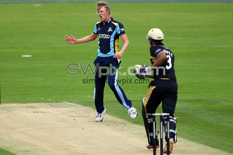 PICTURE BY ALEX WHITEHEAD/SWPIX.COM - Cricket - Clydesdale Bank 40 - Yorkshire v Warwickshire - North Marine Road Ground, Scarborough, England - 27/08/12 - Yorkshire's Steven Patterson reacts.