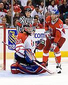 Dustin Tokarski (Canada - 30), Vladimir Ruzicka (Czech Republic - 17) - Team Canada defeated the Czech Republic 8-1 on the evening of Friday, December 26, 2008, at Scotiabank Place in Kanata (Ottawa), Ontario during the 2009 World Juniors U20 Championship.