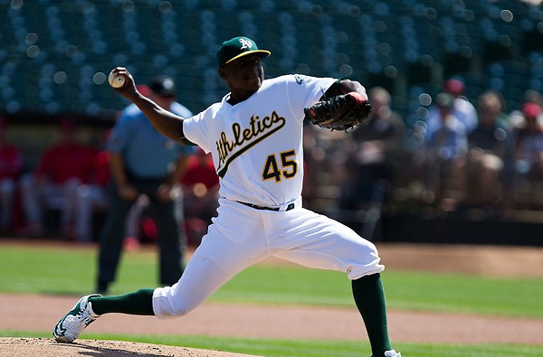 Sep 7, 2016; Oakland, CA, USA; Oakland Athletics starting pitcher Jharel Cotton (45) pitches the ball against the Los Angeles Angels during the first inning at Oakland Coliseum. Mandatory Credit: Kelley L Cox-USA TODAY Sports