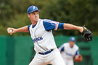 27 july 2010: Gregory Cros of France pitches against Belgium during France 8-2 victory over Belgium, in day 5 of the 2010 European Championship Seniors, in Stuttgart, Germany.