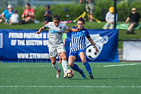 Boston, MA - Saturday June 24, 2017: Debinha De Oliveira and Brooke Elby during a regular season National Women's Soccer League (NWSL) match between the Boston Breakers and the North Carolina Courage at Jordan Field.