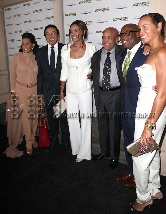 Frances Gladney Robinson, Smokey Robinson, Eskedar Gobeze, Berry Gordy Jr., L.A. Reid and Erica Holton Reid attending the Broadway World Premiere Launch for 'Motown: The Musical' at the Nederlander in New York. Sept. 27, 2012