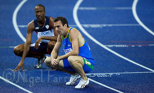 21 AUG 2009 - BERLIN, GER - Fabiano Pecanha (BRA) recovers after his 800m Semi Final at the World Athletics Championships .(PHOTO (C) NIGEL FARROW)