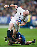 Dan Cole of England takes on the France defence. Natwest 6 Nations match between France and England on March 10, 2018 at the Stade de France in Paris, France. Photo by: Patrick Khachfe / Onside Images