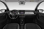 Stock photo of straight dashboard view of a 2019 Skoda Fabia Ambition 5 Door Hatchback