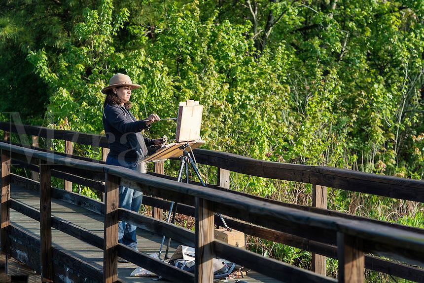 Plein air artist painting.