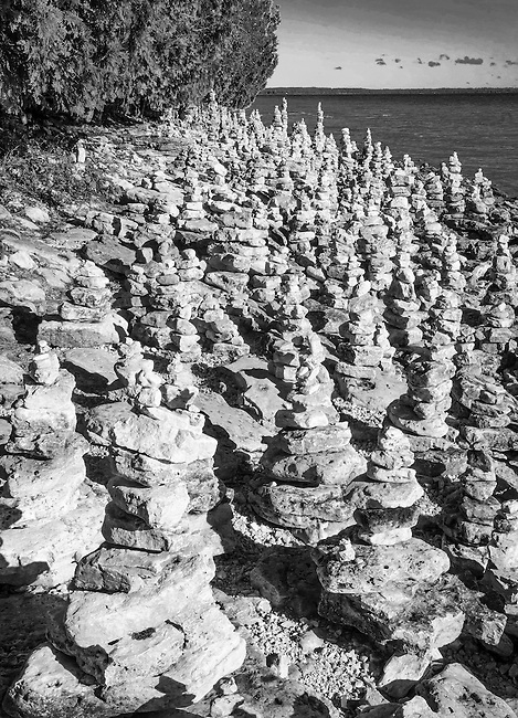 Rock Cairns are temporay artistry on the Lake Michigan Shore, Whitefish Dunes State Park, Door County, Wisconsin