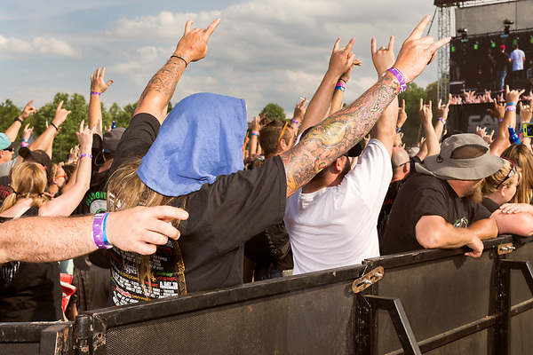 May 8, 2016. Concord, North Carolina. <br />  Cypress Hill fans.<br />  The 2016 Carolina Rebellion was held over May 6-8 next to the Charlotte Motor Speedway and featured over 50 bands including headliners Lynyrd Skynyrd, The Scorpions, Five Finger Death Punch, Disturbed, and Rob Zombie.