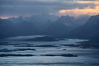 Twilight view over Fredvang and Selfjord from Møntind, Lofoten Islands, Norway