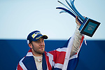 Sam Bird of Great Britain from DS Virgin Racing celebrates with trophy and Union Jack flag at the podium after winning the FIA Formula E Hong Kong E-Prix Round 1 at the Central Harbourfront Circuit on 02 December 2017 in Hong Kong, Hong Kong. Photo by Marcio Rodrigo Machado / Power Sport Images