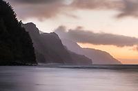 Sunset over Na Pali coastline, Kaua'i.