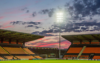 General view of the red skies after the 2017/18 Pre Season Friendly match between Barnet and Swansea City at The Hive, London, England on 12 July 2017. Photo by Andy Rowland.