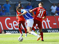 Philipp Klement (SC Paderborn 07) foult Serdar Dursun (SV Darmstadt 98) - 05.08.2018: SV Darmstadt 98 vs. SC Paderborn 07, Stadion am Boellenfalltor, 1. Spieltag 2. Bundesliga<br /> <br /> DISCLAIMER: <br /> DFL regulations prohibit any use of photographs as image sequences and/or quasi-video.
