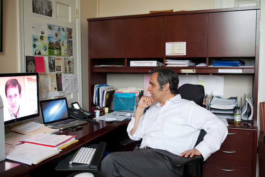 Juan Uriagereka, Associate Provost for Faculty Affairs at University of Maryland uses Skype to communicate with his colleague Roger Martin, Professor at Yokohama National University. College Park, Maryland, May 7, 2013. CREDIT: Lance Rosenfield/Prime