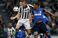 Calcio, quarti di finale di andata di Champions League: Juventus vs Monaco. Torino, Juventus stadium, 14 aprile 2015.<br /> Juventus' Leonardo Bonucci, left, and Monaco's Anthony Martial jump for the ball during the Champions League quarterfinals first leg football match between Juventus and Monaco at Juventus stadium, 14 April 2015.<br /> UPDATE IMAGES PRESS/Isabella Bonotto