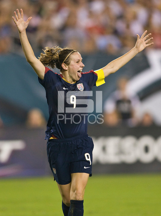 United States (USA) forward Heather O'Reilly (9) celebrates scoring the game's second goal. The United States Women's National Team (USA) defeated the Republic of Ireland (IRL) 2-0 during an international friendly at Lincoln Financial Field in Philadelphia, PA, on September 13, 2008.
