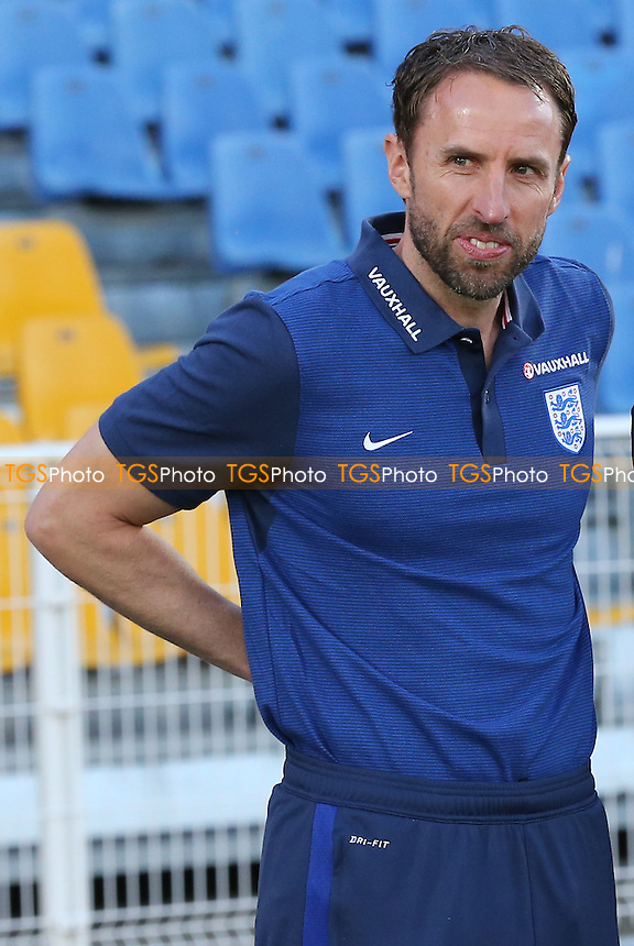 England Manager, Gareth Southgate, proudly looks on as his players walk up to receive the Trophy during England Under-20 vs France Under-20, 2016 Toulon Tournament Final Football at Parc des Sports on 29th May 2016
