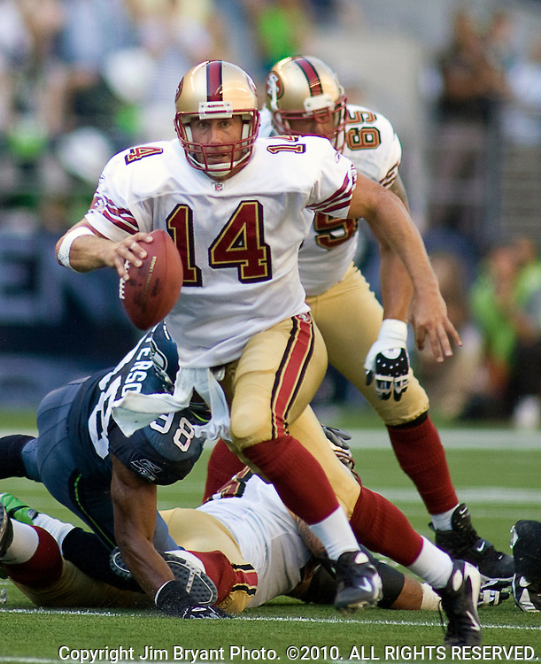 San Francisco 49ers quarterback J.T. O'Sullivan scrambles against the Seattle Seahawks at Qwest Field in Seattle on Sept 14, 2008. O'Sullivan ran for 32 yards on four carries, completed  20 of 32 passes for 321 yards and one touchdown in the 49ers 33-30 overtime victory. Jim Bryant Photo. ©2010. All Rights Reserved.