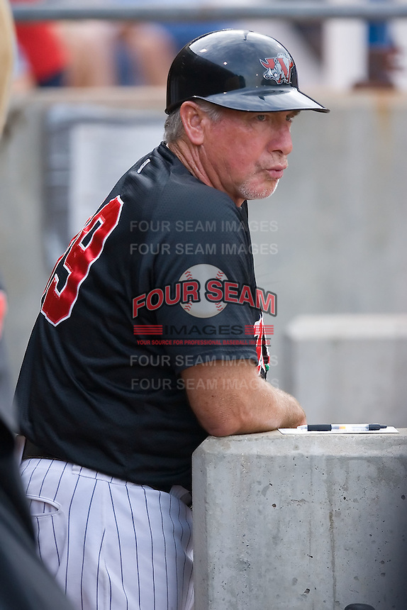 Winston-Salem Warthogs manager Tim Blackwell (39) watches the game from the home dugout at Ernie Shore Field in Winston-Salem, NC, Saturday August 9, 2008. (Photo by Brian Westerholt / Four Seam Images)