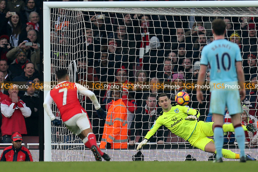 Alexis Sanchez of Arsenal scores the second goal from the penalty spot  during Arsenal vs Burnley, Premier League Football at the Emirates Stadium on 22nd January 2017