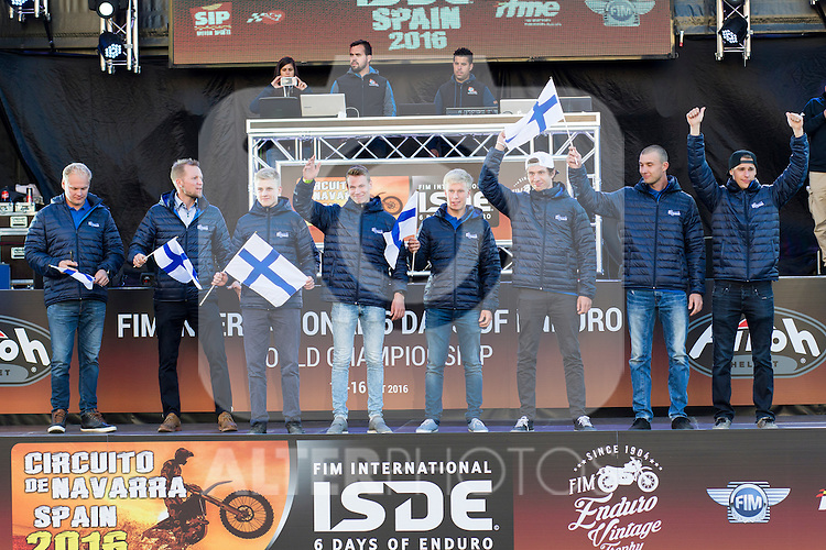 Finland enduro team during the presentation of the FIM international six days of enduro 2016 in Pamplona, Spain. October 09, 2016. (ALTERPHOTOS/Rodrigo Jimenez)