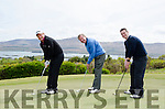 TEEING OFF: Ring of Kerry Golf Club Vice Captain Henk Bons, Republic of Ireland Masters Ronnie Whelan and Bank of Ireland Cork's Chris Dale tee off on the picturesque Iveragh peninsula course.