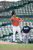 Baltimore Orioles first baseman Ryan Ripken (50) stretches for a throw during an Instructional League game against the Atlanta Braves on September 25, 2017 at Ed Smith Stadium in Sarasota, Florida.  (Mike Janes/Four Seam Images)
