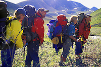 Backpackers in foothills of Alaska Range Siksikpalak River Arctic National Wildlife Refuge Alaska